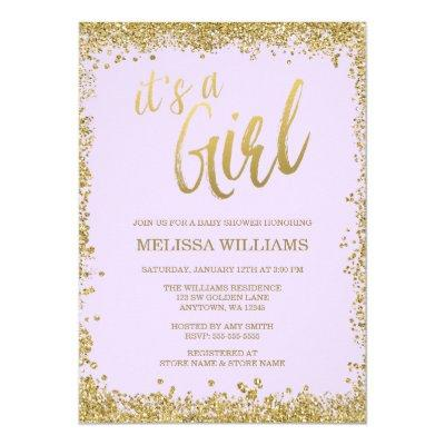 Girl Lilac Purple Faux Gold Glitter Baby Shower Invitations