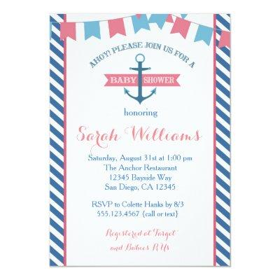 Girl Nautical Baby Shower Invitations Pink and Blue