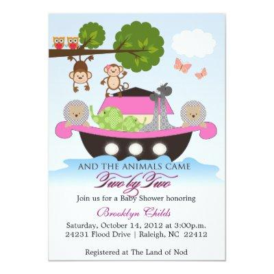 Girl Noah's Ark Sets Sail Baby Shower Invitations