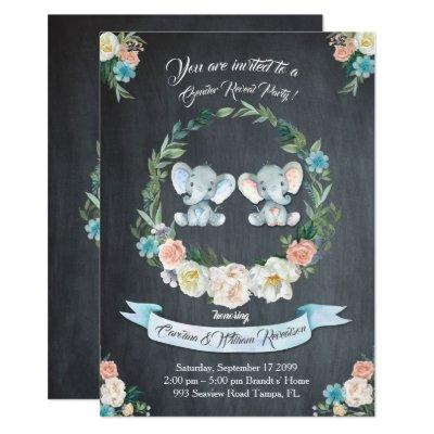 Girl or boy gender reveal elephant,blackboard,cute invitation
