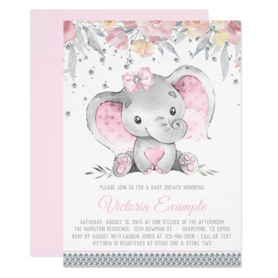 Girl Pink Gray Elephant Diamond Baby Shower Invitation