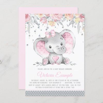 Girl Pink Gray Elephant Diamond Baby Shower Invitation