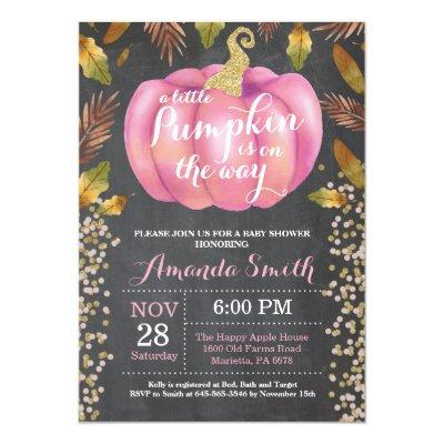 Girl Pumpkin Fall Baby Shower Gold Glitter Invitation
