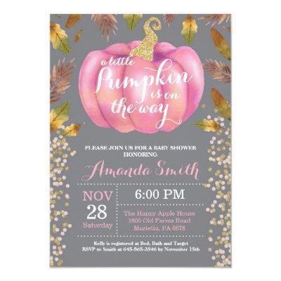 Girl Pumpkin Fall Baby Shower Gold Glitter Invitations