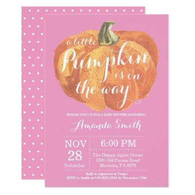 Girl Pumpkin Fall Baby Shower Invitation Pink