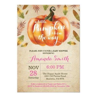 Girl Pumpkin Fall Baby Shower Invitation Rustic