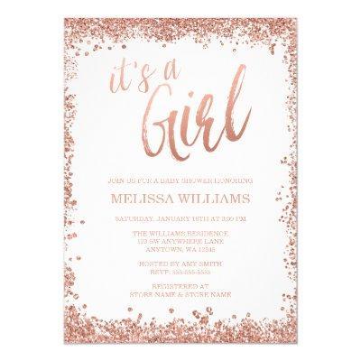 Girl Rose Gold Faux Glitter