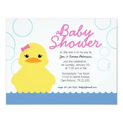 girl rubber ducky BABY SHOWER Invitations