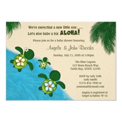 GIRL Sea TURTLE Baby Shower Invite YEL (Honu) 03B2