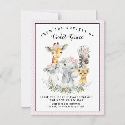 Girl Sweet Safari Baby Shower Thank You Cards