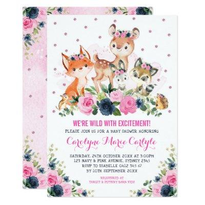 Girl Woodland Animals Navy Pink Floral Baby Shower Invitation