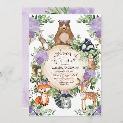 Girl Woodland Baby Shower By Mail Purple Floral Invitation
