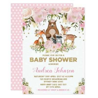Girl Woodland Baby Shower Forest Animals Pink Gold Invitations