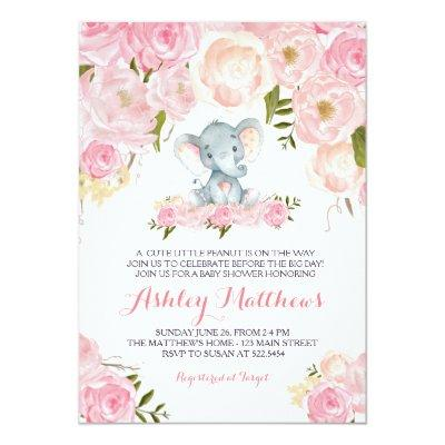 Girls Baby Elephant Baby Shower Invitations