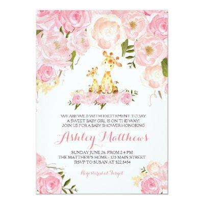 Girls Baby Giraffe Baby Shower Invitations