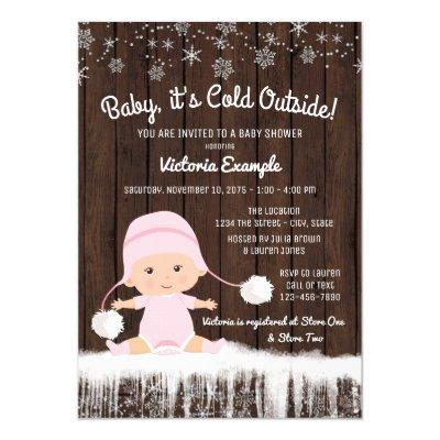Girls Baby its Cold Outside Winter Invitations