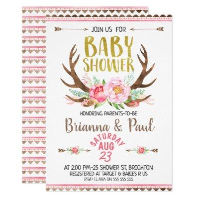 Girls Boho Floral Antlers Baby Shower Invitations