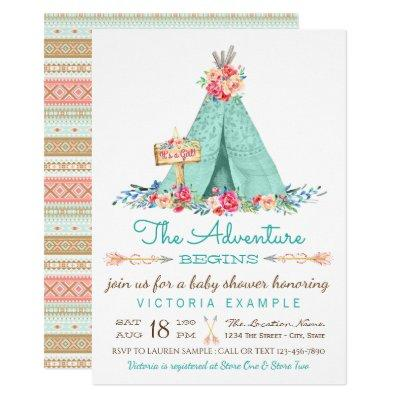 Girls Boho TeePee Invitations