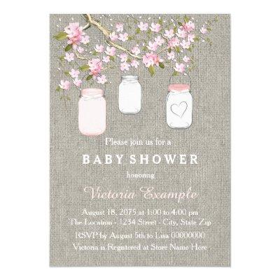 Girls Burlap Baby Shower Invitation