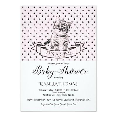 Girls Cute Kitten Baby Shower Invitation