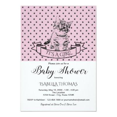 Girls Cute Kitten Purple Baby Shower Invitation