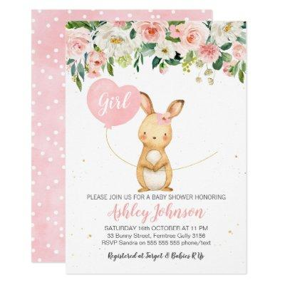 Girls Floral Bunny Baby Shower Invitations