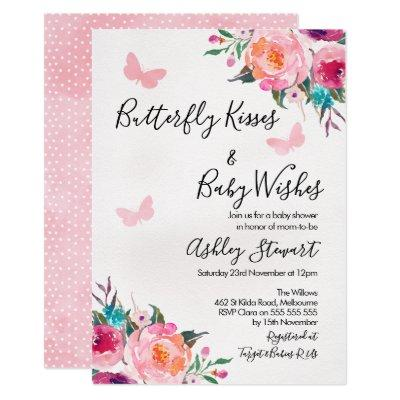 Girls Floral Butterfly Baby Shower Invitations