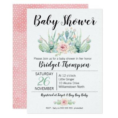 Girls Floral Cactus Baby Shower Invitations