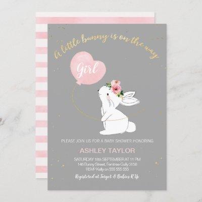 Girls Gray Pink Bunny Baby Shower invitation