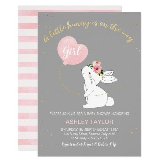 Girls Grey Pink Bunny Baby Shower Invitations