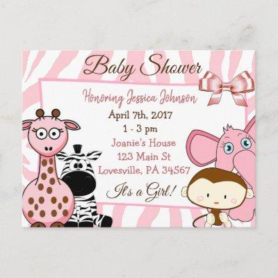 Girl's Jungle or Zoo Animals Themed Baby Shower Invitation Postcard