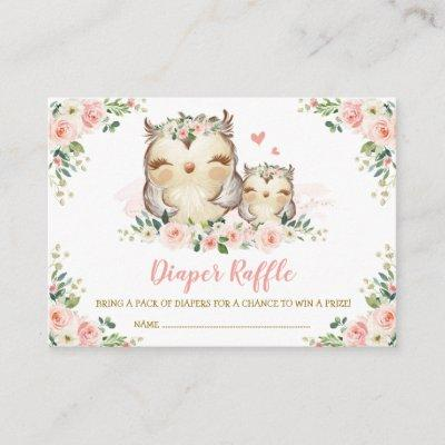 Girls Jungle Safari Wild Animals Diaper Raffle Enclosure Card