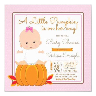 Girls Little Pumpkin Invitations