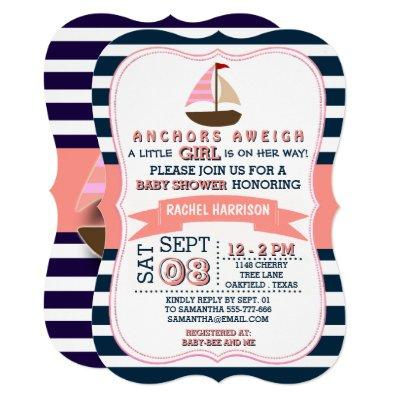 Girl's Nautical Boat Baby Shower Invitations