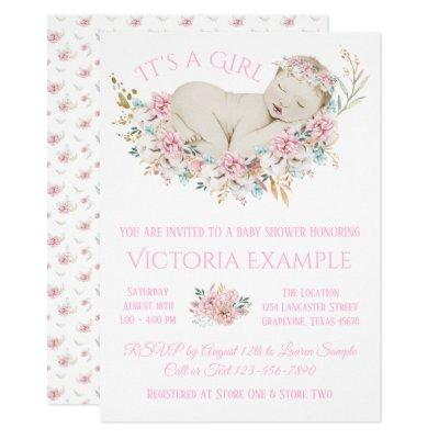 Girls Pastel Watercolor Floral Baby Shower Invitations