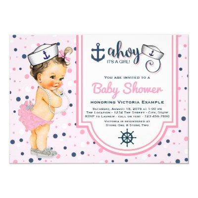 pink and navy baby shower baby shower invitations   baby shower, Baby shower invitations
