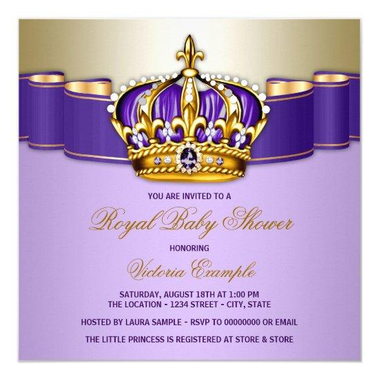 S Purple Gold Royal Baby Shower Card