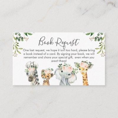 Girls Safari Animals Book request Card Insert
