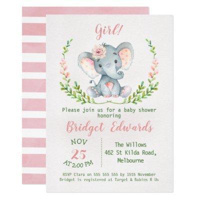 Girl's Safari Elephant Baby Shower Invitations