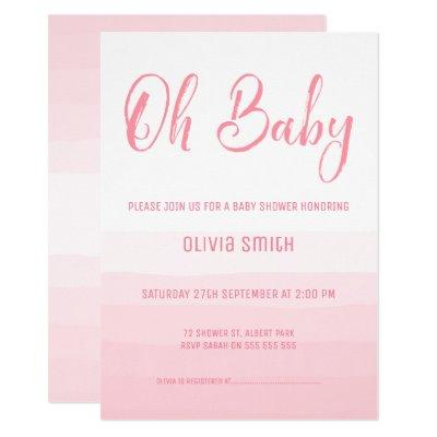 Girl's Simple Watercolor Baby Shower Invitations