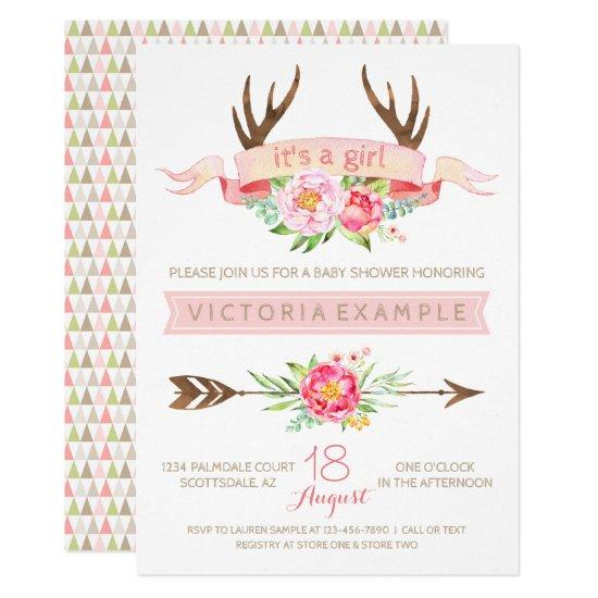 Girls Tribal Antler Floral Baby Shower Invitations