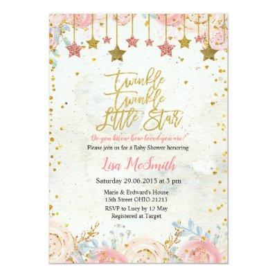 Girls Twinkle Little Star Baby Shower Invitation
