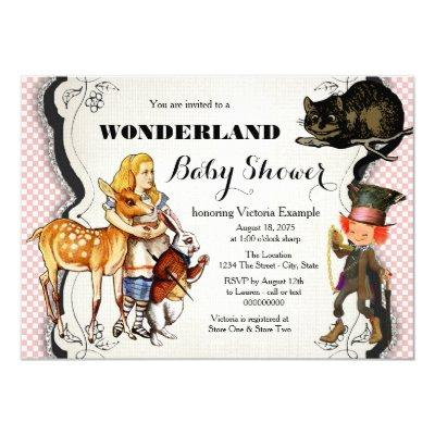 alice in wonderland baby shower baby shower invitations | baby,