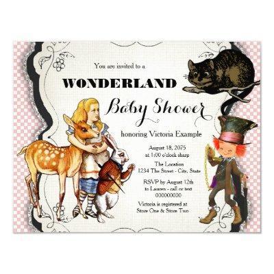 girls alice wonderland baby shower baby shower invitations | baby, Baby shower invitations