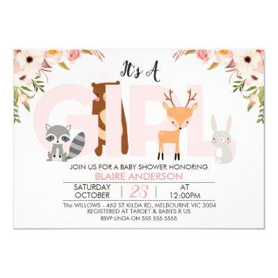 Girls Woodland Animals Baby Shower Invitations