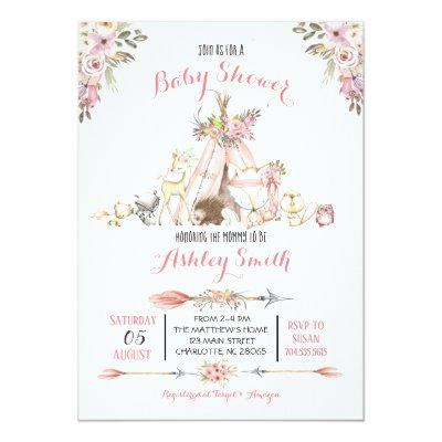 Girls Woodland Baby Shower Invitations
