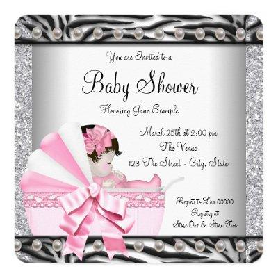 Girls Zebra Baby Shower Invitations