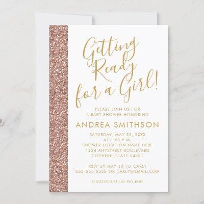 Girly Baby Shower Rose Gold Glitter Invitation