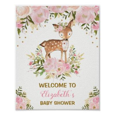 Girly Deer Baby Shower Pink Floral Welcome Sign