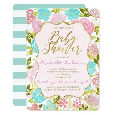 Girly Pink Mint Gold Baby Shower Invitation